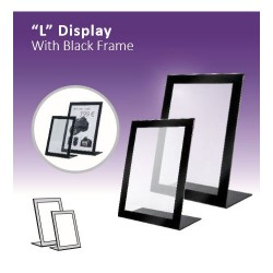 """L"" Display with black frame"